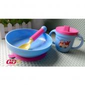 Bộ bát dính + thìa + cốc tập ăn cho bé
